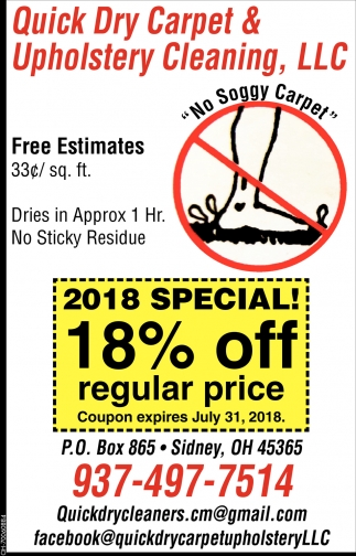 2018 Special 18% off regular price