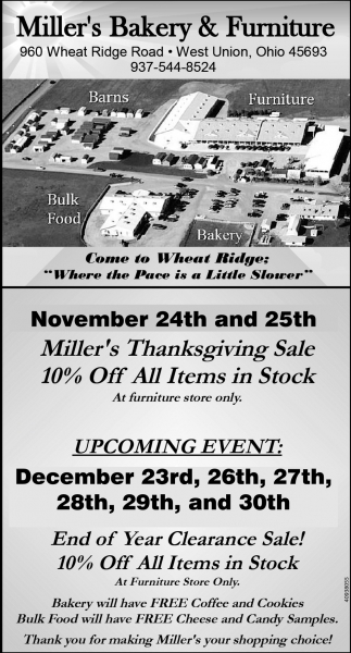 Milleru0027s Thanksgiving Sale, Milleru0027s Bakery U0026 Furniture