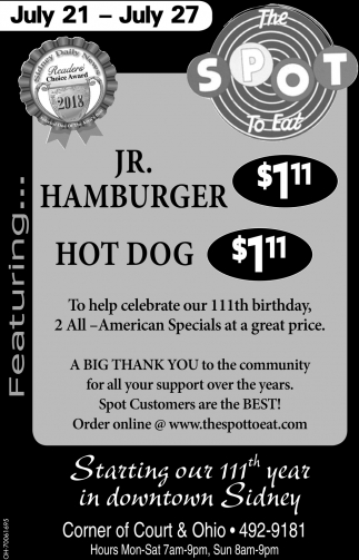 Jr. Hamburger Hot Dog