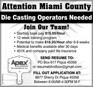 Die Casting Operators