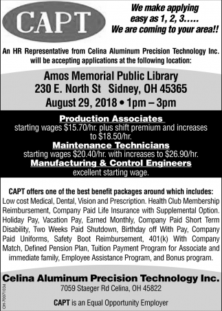 Production Associates, Maintenance Technicians