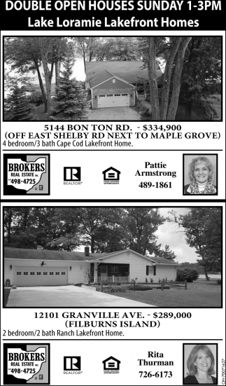 Double Open Houses Sunday 1-3 pm