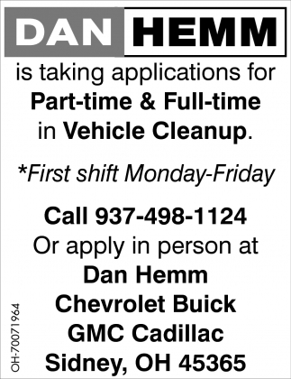 Vehicle Cleanup Dan Hemm Chevrolet Buick Gmc Cadillac Sidney Oh