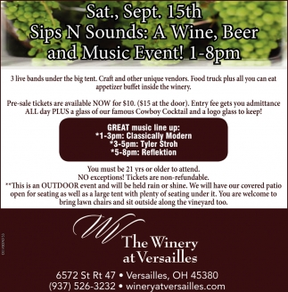 Sips N Sounds, Wine, Beer and Music Event