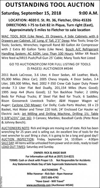 Outstanding Tool Auction