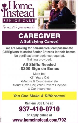 Caregiver, Home Instead Senior Care