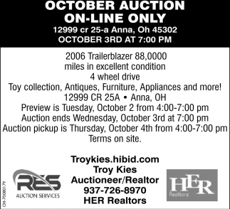 October Auction On-Line Only