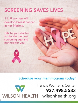 Schedule your mammogram today!