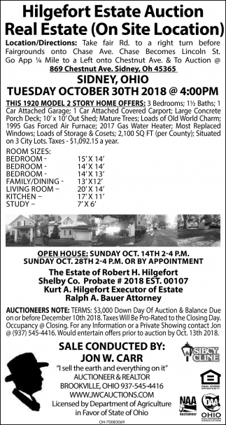 Hilgefort Estate Auction Personal Property & Real Estate