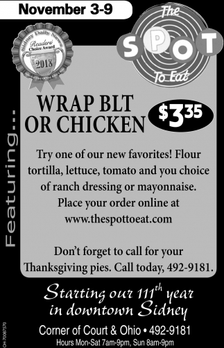 Wrap BLT or Chicken