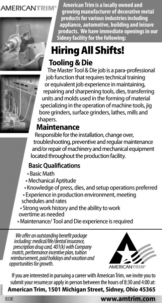 Tooling & Die, Maintenance