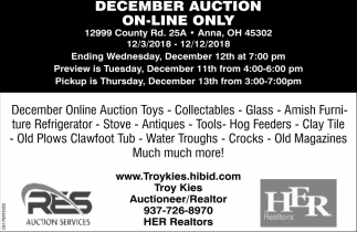 December Auction On-Line Only
