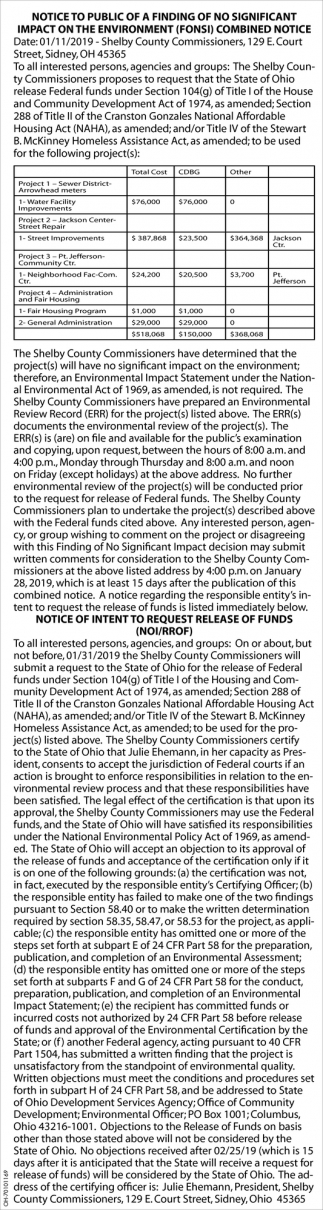 Notice to public of a finding of no significant impact on the environment