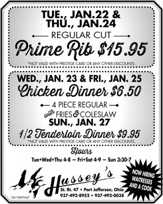 Prime Rib, Chicken Dinner