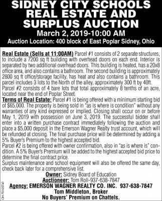 Sidney City Schools Real Estate and Surplus auction