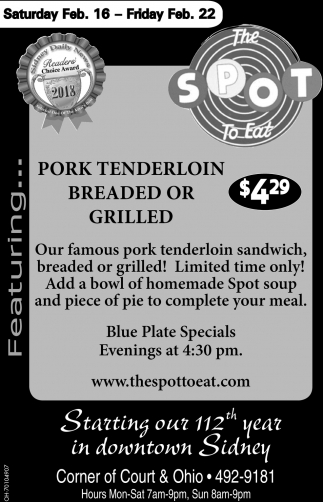 Pork Tenderlion Breaded or Grilled