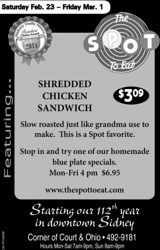 Shredded Chicken Sandwich $3.09