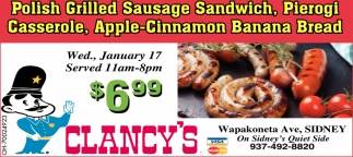 Polish Grilled Sausage Sandwich, Pierogi Casserole, Apple Cinamon Banana Bread