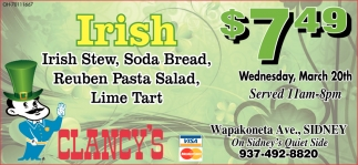 Irish - Stew, Soda Bread, Reuben Pasta Salad, Lime Tart $7.49