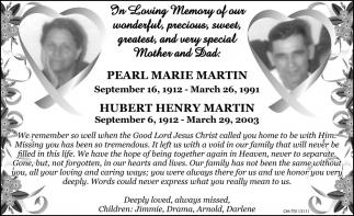 Pearl Marie Martin / Hubert Henry Martin