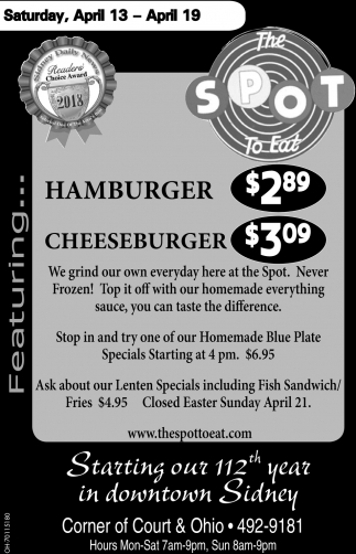 Hamburger $2.89 - Cheesebuger $3.09