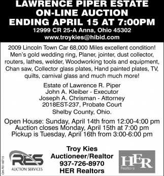 Lawrence Piper Estate On - Line Auction