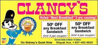 Voted Best Breakfast 5 years running!