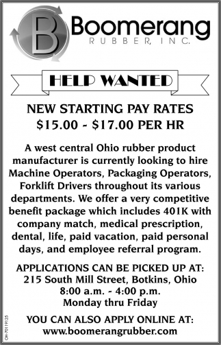 Machine Operators - Packaging Operators - Forklift Drivers