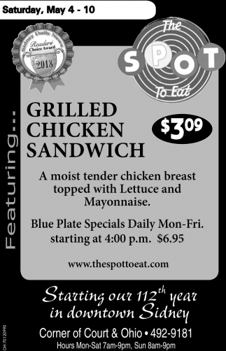 Grilled Chicken Sandwich $3.09