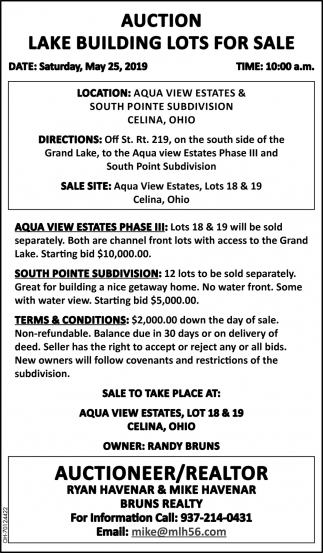 Auction Lake Building Lots for Sale