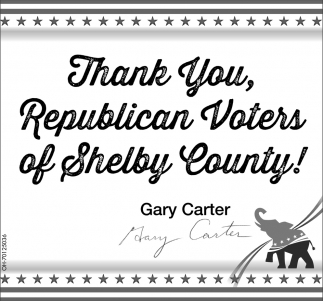 Thank You, Republicans Voters of Shelby County