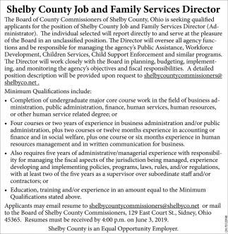 Shelby County Job and Family Services Director