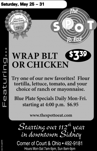 Wrap BLT or Chicken $3.39