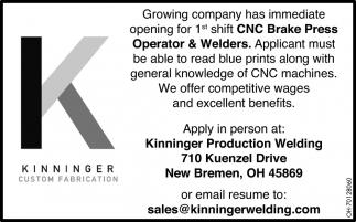 CNC Brake Press Operator & Welders, Kinninger Production Welding
