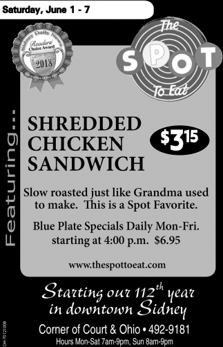 Shredded Chicken Sandwich $3.15