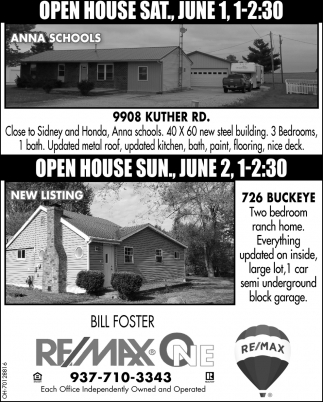 Open Houses June 1, 2