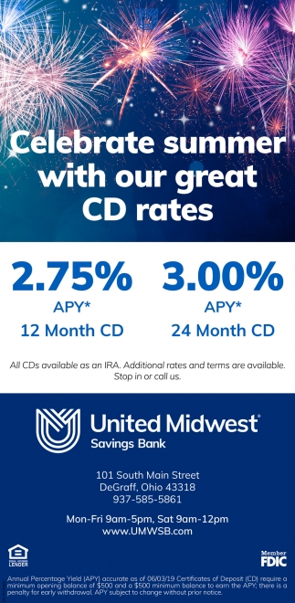 Celebrate summer with our great CD rates!