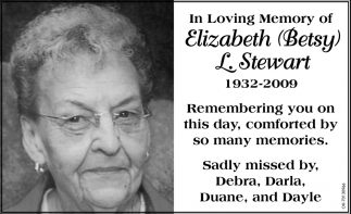 In Loving Memory of Elizabeth Betsy L. Stewart