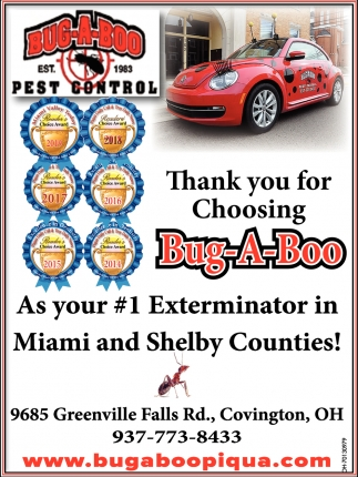 Thank you for Choosing Bug-A-Boo As your #1 Exterminator in Miami and Shelby Counties
