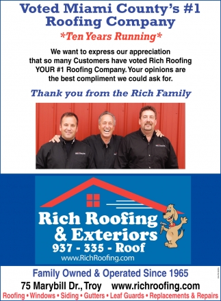 Voted Miami County's #1 Roofing Company