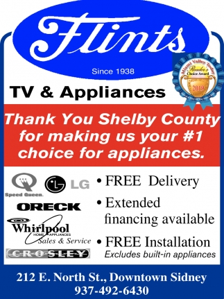 Thank you Shelby County for making us your #1 choice for appliances