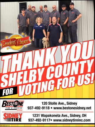 Thank You Shelby County for Voting for Us! in Sidney