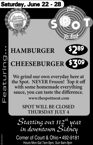 Hamburger $2.89 |Cheeseburger $3.09
