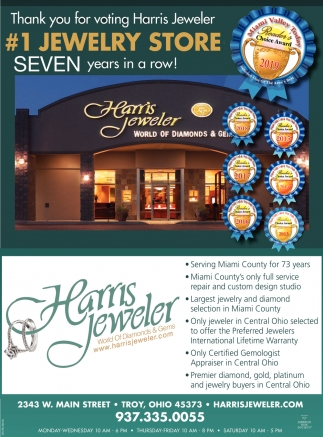 Thank you for voting Harris Jeweler #1 Jewelry Store Seven years in a row!