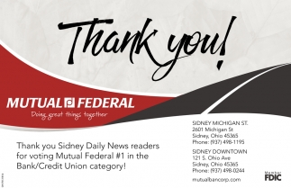 Thank you for voting #1 in the Bank/Credit Union category!