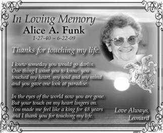 In Loving Memory of Alice A. Funk