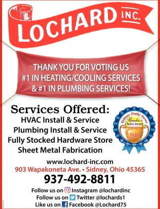 Thank you for voting us #1 in heating/cooling services & #1 in plumbing services!
