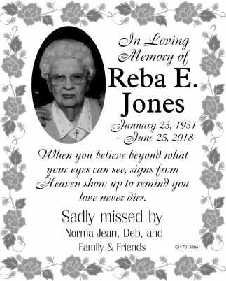 In Loving Memory of Reba E. Jones