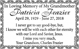 In Loving Memory of Patricia Frazier
