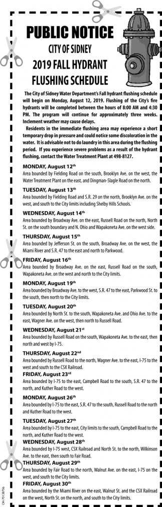 2019 Fall Hydrant Flushing Schedule